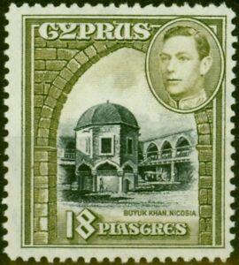 Cyprus 1947 18pi Black & Sage-Green SG160a Fine Lightly Mtd Mint
