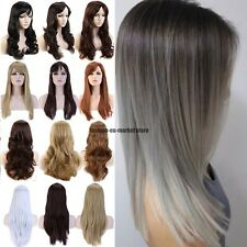 Heat Resistant Clip in Full Wigs Long Curly Wavy Hair Real As Natural Blonde UK