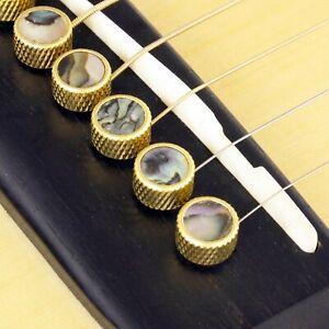6Pcs Guitar Bone Bridge Pins Pegs with Malachite Dot and Brass Circle Outside