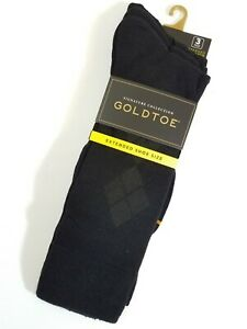 Gold Toe Men's Socks Dress Crew Rayon 3 Pair Black Shoe Size 12 - 16 Extended XL