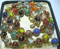 "Rainbow Venetian Murano Glass Gold Foil Bead Vintage Style 18"" Long NECKLACE"