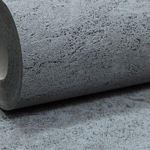 Plain Dark Grey Charcoal Textured Heavy Vinyl Paste the Wall Wallpaper Concrete