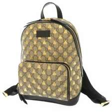 GUCCI Backpack GG Supreme Canvas Leather Beige Black Bees 427042 Italy