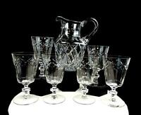 "BRILLIANT CUT CRYSTAL CRISS CROSS AND DOTS 7 PIECE 8 5/8"" PITCHER AND GOBLETS"