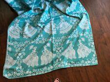 "New listing Victorian Ladies Bates aqua vint 100% cotton blanket Coverlet Spread Throw 74"""