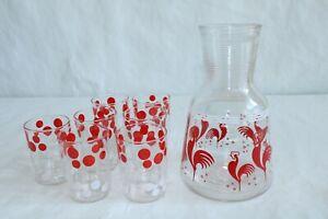 Vintage Hazel Atlas Red Rooster Juice Decanter Pitcher Carafe With Glasses Rare