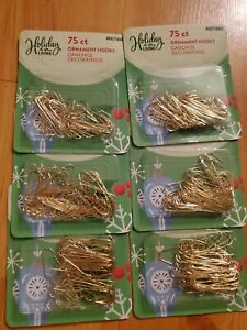 """6 Packs HOLIDAY LIVING 75 each Pack 1.25"""" gold Metal Ornament Hooks"""