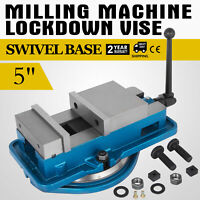 "5"" Milling Machine Lockdown Vise Swivel Base Swivel Base Hardened Metal CNC"