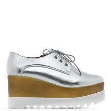 39 scarpe francesine stringate lacci carrarmato zeppa platform decoltè silver