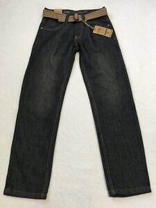 NWT Paper Denim Cloth Boys 12 Hamilton Skinny Fit Blue Jeans Brown Tan Belt