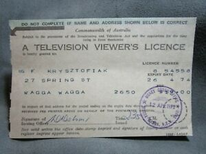 1973 A Television Viewer's Licence Wagga Wagga Commonwealth Of Australia.