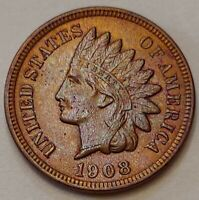 1908 Indian Head Cent Grading CH BU BROWN Nice Coin Priced Right FREE S&H   i84