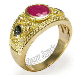 Men's 18k Gold Genuine Ruby & Ceylon Sapphire Ring  $2459.00 #R1323