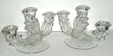 VTG PAIR FOSTORIA BAROQUE ETCHED GLASS TRIPLE CANDELABRA CANDLE STICK HOLDERS