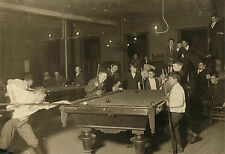 "1915 Photo, Billiards, POOL TABLE, Antique view Newsboys, BOSTON, MASS- 20""x14"""