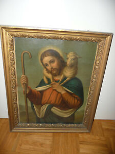 ALTES HEILIGEN BILD CHRISTUS JESUS MIT LAMM + ALTEM RAHMEN