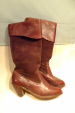 Womens Sz 7,5M Vtg DEXTER Mid Calf Western Boots Cordovan Leather/Suede USA Made