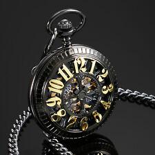 ESS Mens Pocket Watch Mechanical Black Stainless Steel Case Half Hunter Luxury