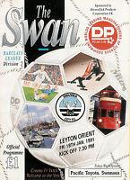 Swansea City v Leyton Orient  18 Jan 1991 FOOTBALL PROGRAMME postponed