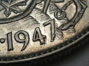 AU 1947 7/7/7 7 over 7 over 7 50¢ Cent Silver CANADA.  #22