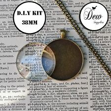 6 X DIY 38mm Round Bronze necklace kit circle glass, pendant tray and chain