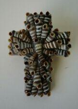 Folk Art Sea Shell Cross Brooch or Pin, Sailor's Valentine