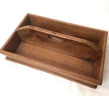 Antique Cutlery Tray Wooden Oak Tray Box Dining County Farmhouse