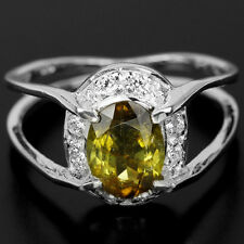 Tourmaline Ring Sterling 925 Halo of Cubic Zirconia Size 7 Earthy Green