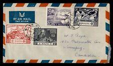 DR WHO 1949 MALTA FDC? UPU 75TH ANIV COMBO AIRMAIL TO CANADA  f80449