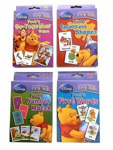 Lot of (4) Disney Winnie the Pooh Learning Cards First Words Colors Number Match