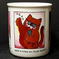 Hallmark Cat Mug Keep A Song in Your Heart Spring in Step Smile on Face Nice