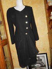 Vintage Constance Saunders Black Dress Rhinestone Buttons Sz 6 Chiffon Bottom
