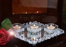 Set Of 3 Diamante Tealight Candle Holders & Crystal Mirror Tray Base