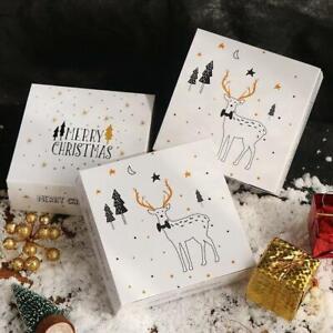 50x Christmas Gift Box Reindeer Christmas Tree Box Cookie Product Packaging Box
