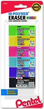 Pentel Hi-Polymer Erasers 6 Colors Non-Abrasive Latex-Free Clean Erasing