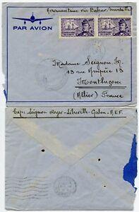 AEROMARITIME GABON DAKAR FRANCE COMMISSION C HANDSTAMP AEF 1940 WW2 CENSORED
