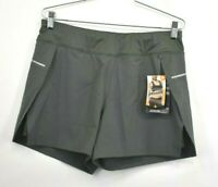 Avita Womens Elastic Waist Olive Green Shorts Athletic Zip Back Pocket Sz Medium