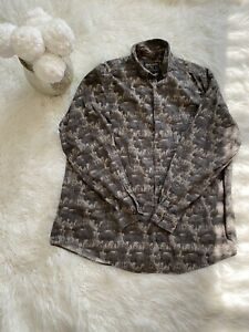 WOOLRICH L/S Shirt Buffalo All Over Green Thick Heavy Cotton Button Down Mens L