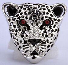 Wild Leopard Stretch Ring Crystal Rhinestone Animal Bling Jewelry Silver RA10