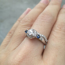 Silver Wedding Engagement Ring Set Size 6 New listing Women Round White Cz Blue 925 Sterling