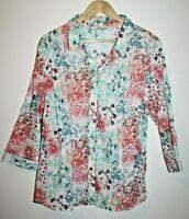 Damart Designer Women's Office Multi Floral 3/4 Sleeve Shirt Blouse Top Size 22