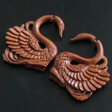 """1 3/4"""" SWAN FAKE GAUGE NATURAL WOOD HANDCARVED POST earrings"""