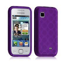 Housse coque etui gel rond transparent pour Samsung Wave 575 S5750 violet