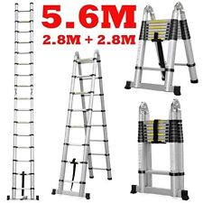 NEW 5.6M Telescopic Aluminium Ladder Extension Alloy Double Extendable Step AUS