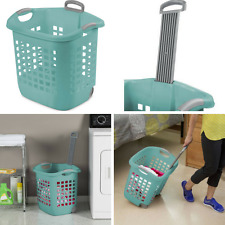 4x Laundry Basket with Wheels Clothes Hamper Washing Organizer Plastic Bin Teal