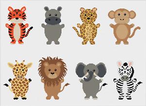 Safari Animals Tiger Lion Giraffe Zebra Cross Stitch Pattern by Meloca Designs