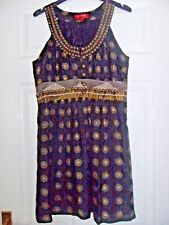 DERHI dress M (size 10) BLACK/GOLD- silk effect viscose-sleeveless