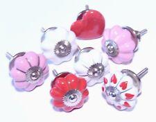 Schrankknöpfe / Möbelknopf ,Rot - Weiß  - Rosa Keramik / Set 7 Stück, 4,5 cm Ø