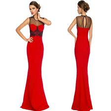 Sz 12 14 Red Black Mesh Sleeveless Sexy Formal Cocktail Evening Party MaxiDress