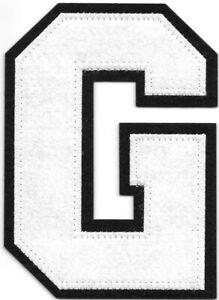 """4 """" Grand Blanc Noir Bloc Letterman's Lettre G Feutre Patch"""